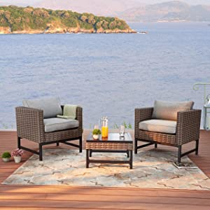 LOKATSE HOME 3 Pieces Outdoor Patio Balcony Furniture Rattan Conversation Set Wicker Chairs with Square Table, Brown