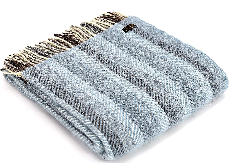 Tweedmill – Blau gestreifte, luxuriöse Überwurfdecke aus 100% Schurwolle