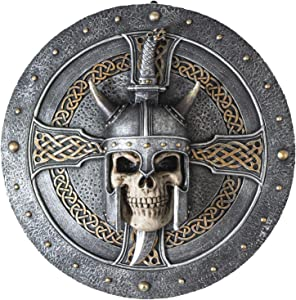 Summit Collection Menacing Viking Skull Shield Wall Plaque 12 Inches Tall Valhalla Vengeance Fantasy Gothic Wall Decor