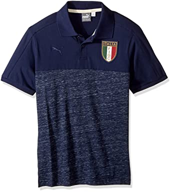 PUMA Men's FIGC Italia Azzurri Polo, Peacoat/Peacoat Heather, Small