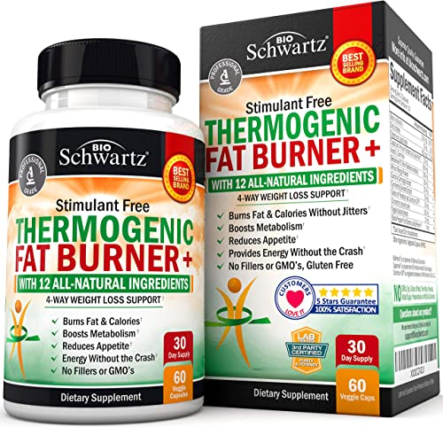 Thermogenic Fat Burner for Women Men – 4 Way Weight Loss Support – Stimulant Free with All Natural Ingredients- Promotes Fat Burn Appetite Reduction- Metabolism Booster – with Chromium – 60 Ct