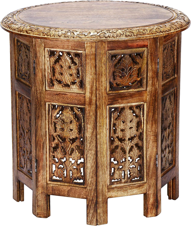 Marokkanischer Tisch Beistelltisch aus Holz Ashkar Braun ø 37cm groß rund   Orientalischer runder Hocker Blumenhocker orientalisch klein