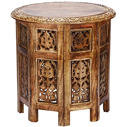 Moroccan Style Folding Small Solid Wood Side Table Ashkar Brown O 45cm Round Sofa Bedside Tables As Oriental Home Or Living Room Decoration Indian