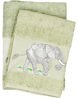 Luxury Elephant Embroidered Green Bath And Hand Towel 100% Cotton Bathroom  Set U0026 Gift By