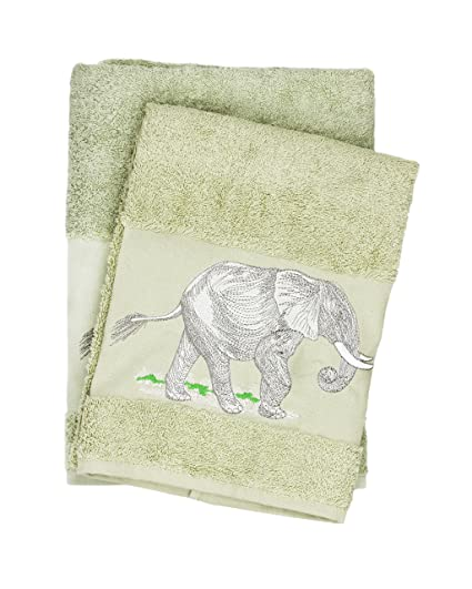 Beau Luxury Elephant Embroidered Green Bath And Hand Towel 100% Cotton Bathroom  Set U0026 Gift By