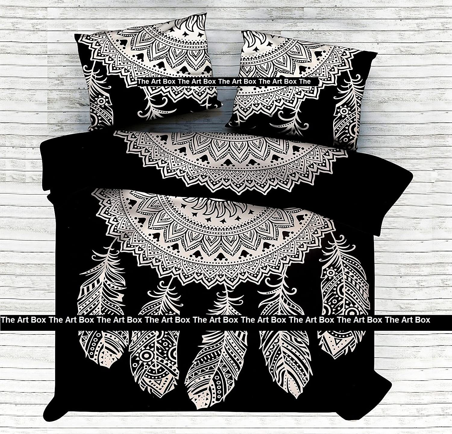 The Art Box Black&White Dream Catcher Duvet Cover, Indian Duvet Doona Cover, Reversible Quilt Cover Set, with Pillowcases Boho Comforter Cover (Twin Size)