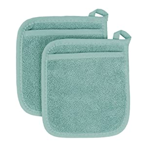 Ritz Royale Collection 100% Cotton Terry Cloth Pocket Mitt Set, Dual-Function Hot Pad / Pot Holder, 2-Piece, Dew
