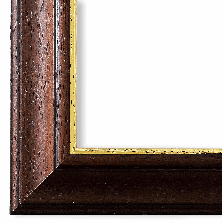 Bilderrahmen Genua Braun Gold 4,3 - DIN A3 (29,7 x 42,0 cm) - WRU - 500 Varianten - alle Größen - handgefertigt - Galerie-Qualität - Antik, Barock, Landhaus, Shabby, Modern - Fotorahmen Urkundenrahmen Posterrahmen