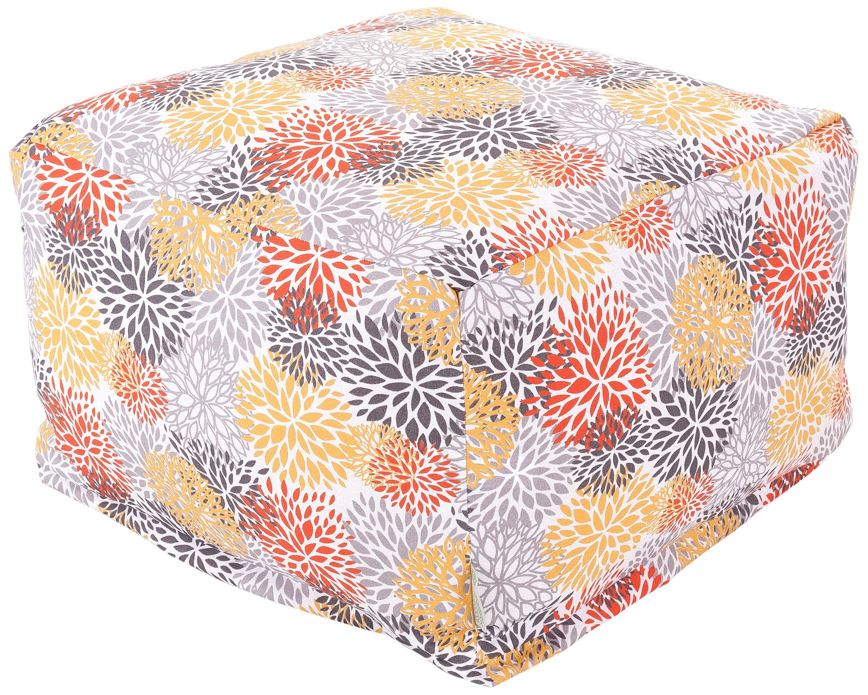 Majestic Home Goods Blooms Ottoman, Large, Citrus