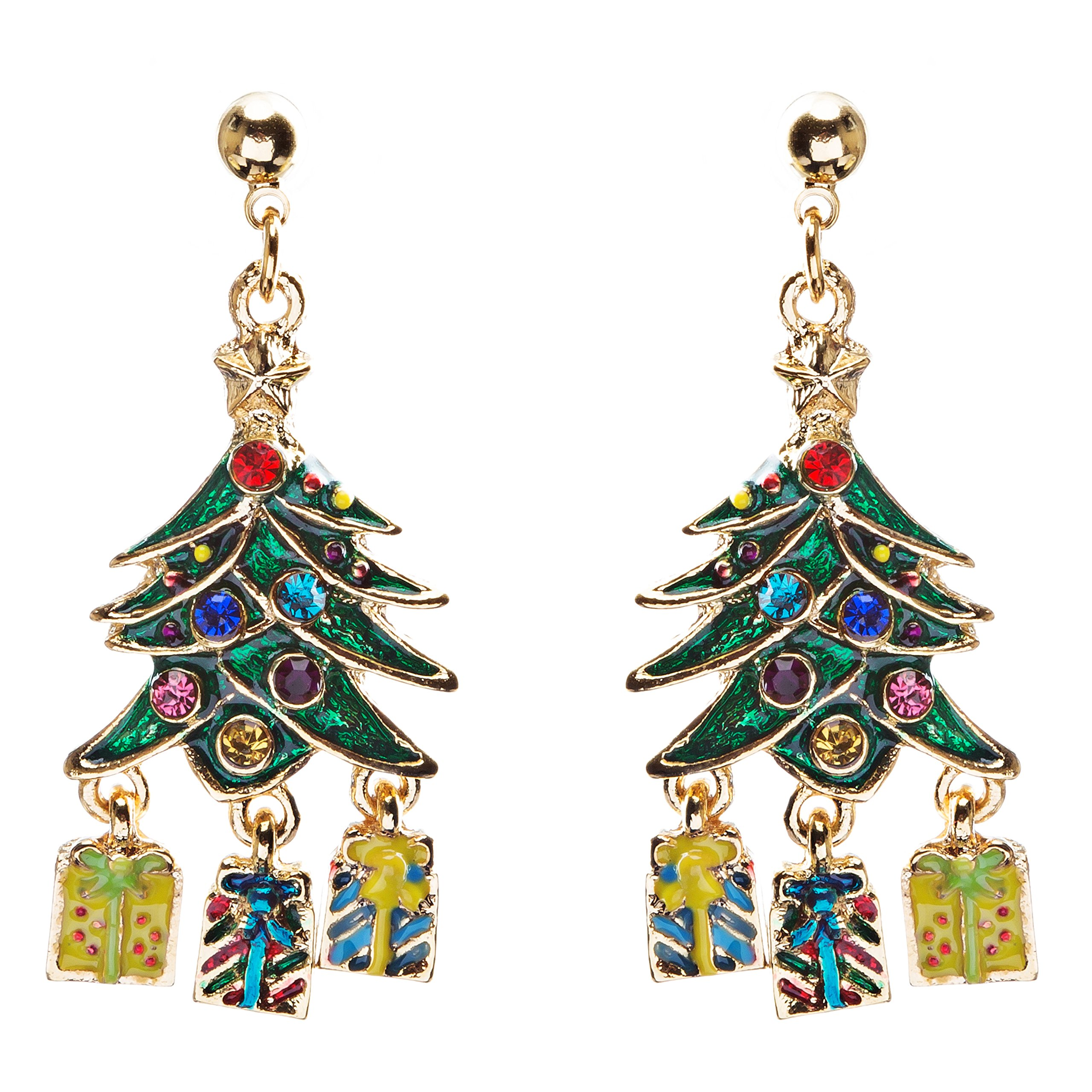 ACCESSORIESFOREVER Women Christmas Jewelry Crystal Rhinestone Holiday Gift Present Tree Earrings E886