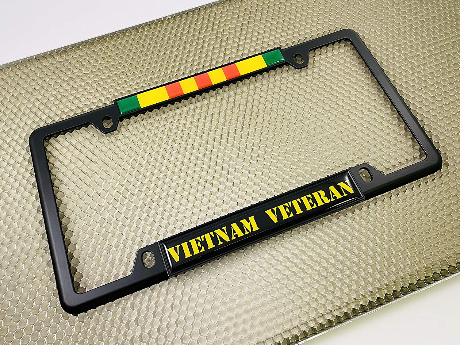 Domed Custom-Made Personalized Narrow Thin Top 4 Hole Metal Car License Plate Frame with Free caps Vietnam Veteran Chrome