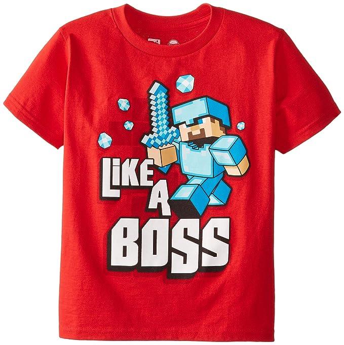 e65604d55 Amazon.com: JINX Minecraft Big Boys' Like a Boss T-Shirt (Red, Large ...
