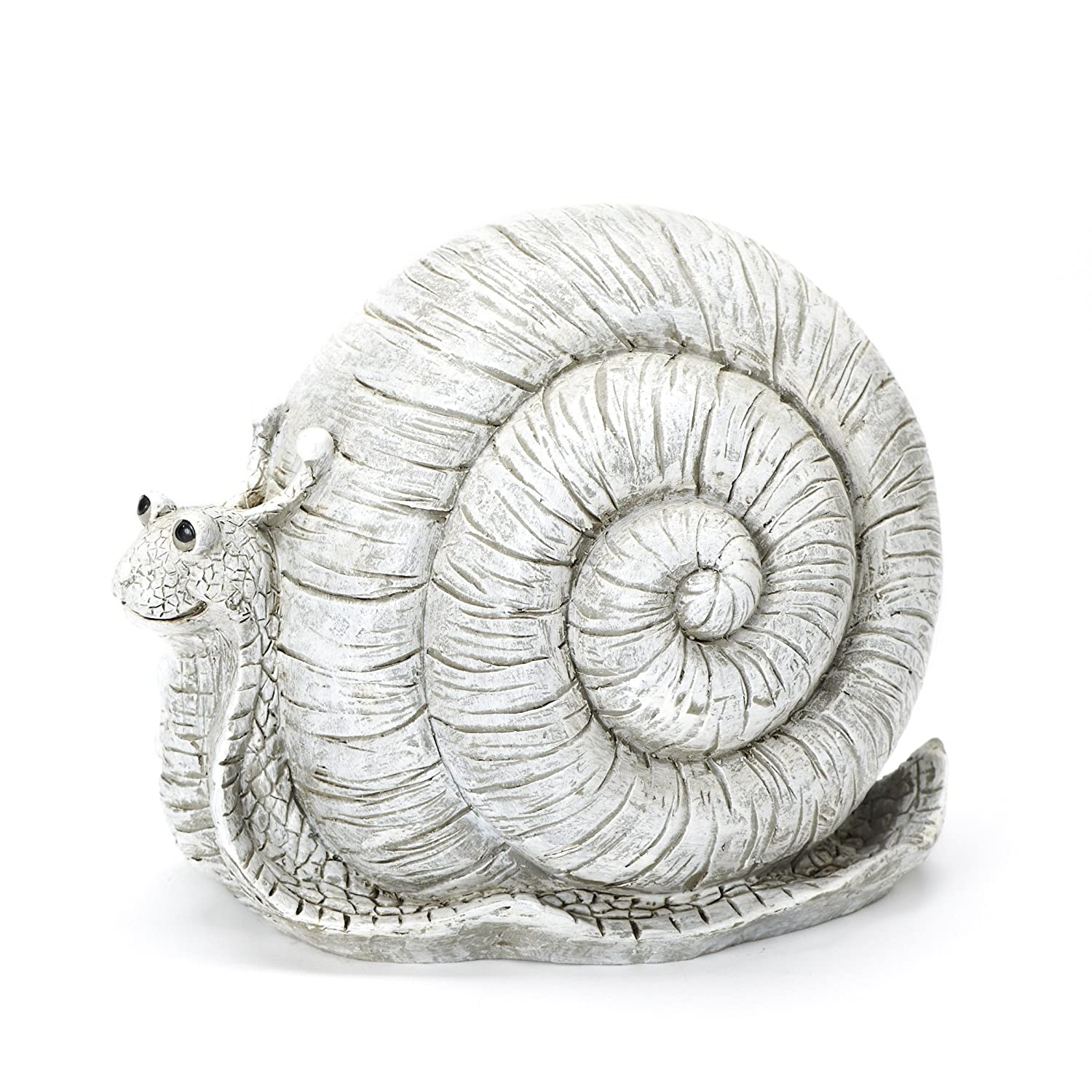 Roman Exclusive Pudgy Pal Snail Garden Statue, 8-Inch, Made of Dolomite