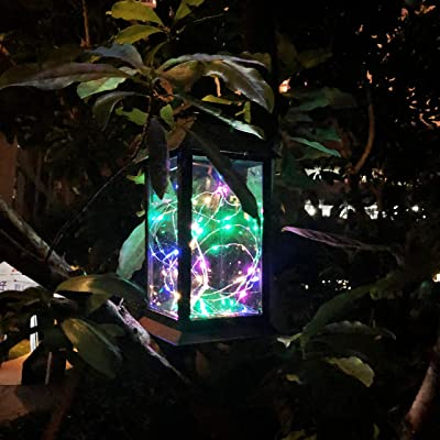 Solar Outdoor Lantern, Waterproof Hanging Solar Lantern with 30 LED Fairy Copper String Lights for Patio, Garden, Lawn, Pathway (Colorful)