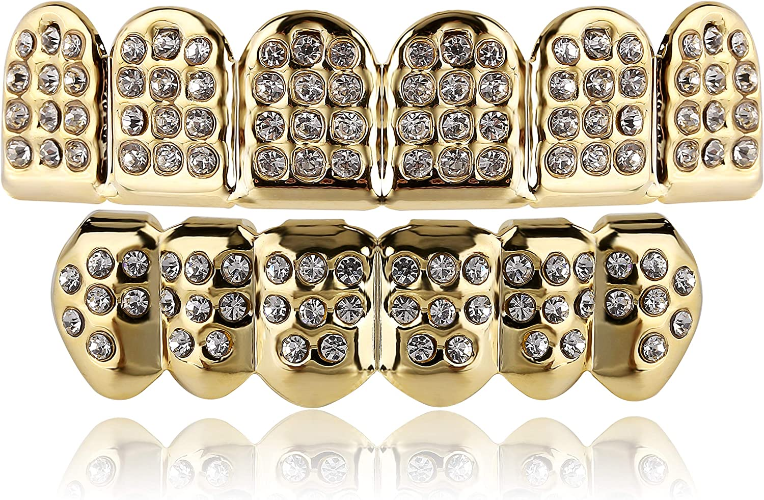 TOPGRILLZ 14K Gold and Silver Plated Iced Out CZ Diamond Top and Bottom Grills for Your Teeth Men Women Hip Hop Jewelry