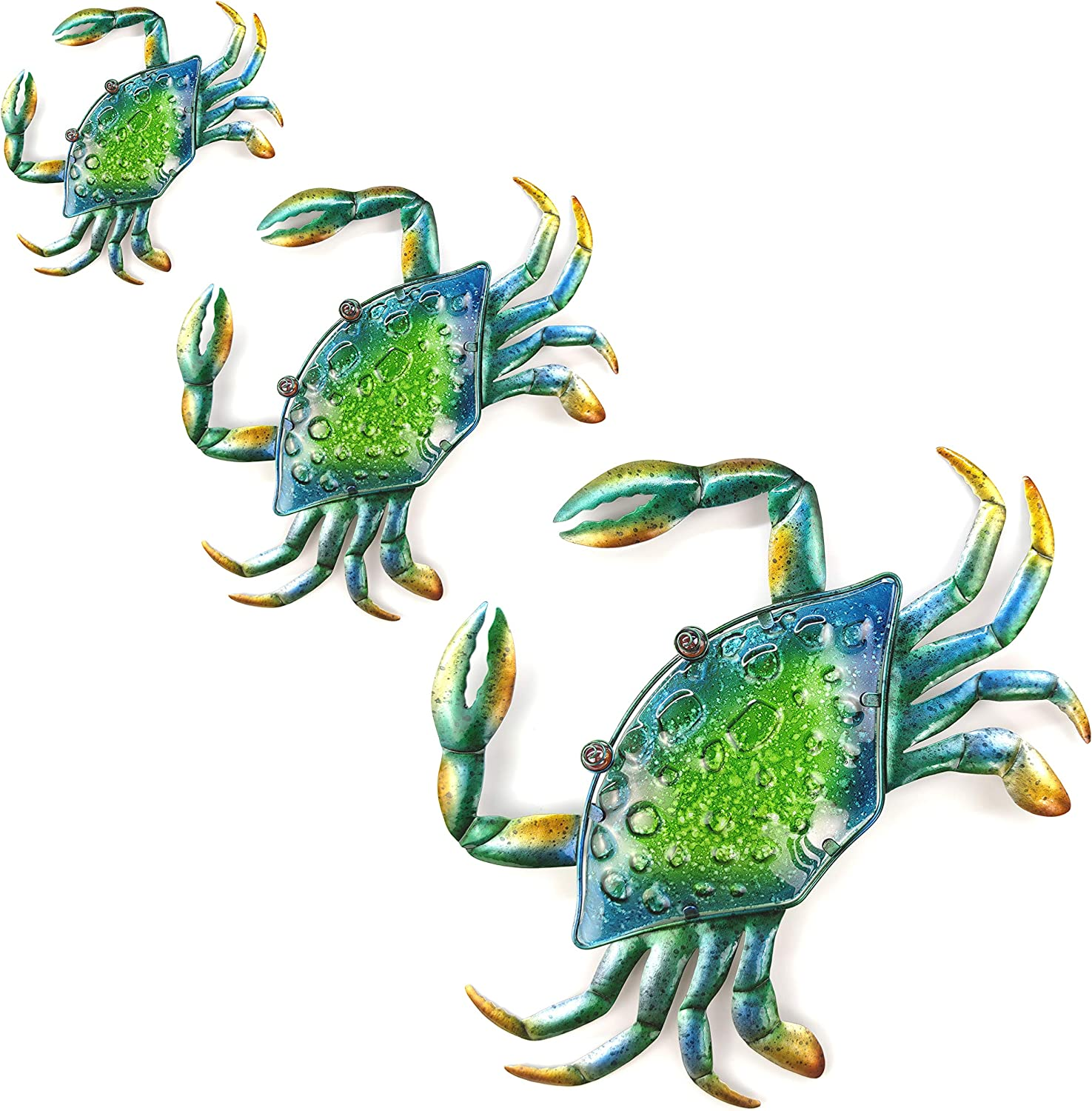JOYBee 3Pcs 18inch 13inch 9inch Large Coastal Ocean Metal Crab Wall Art Decor Family Set ,Decoration for outdoor indoor bathroom kitchen garden bedroom patio