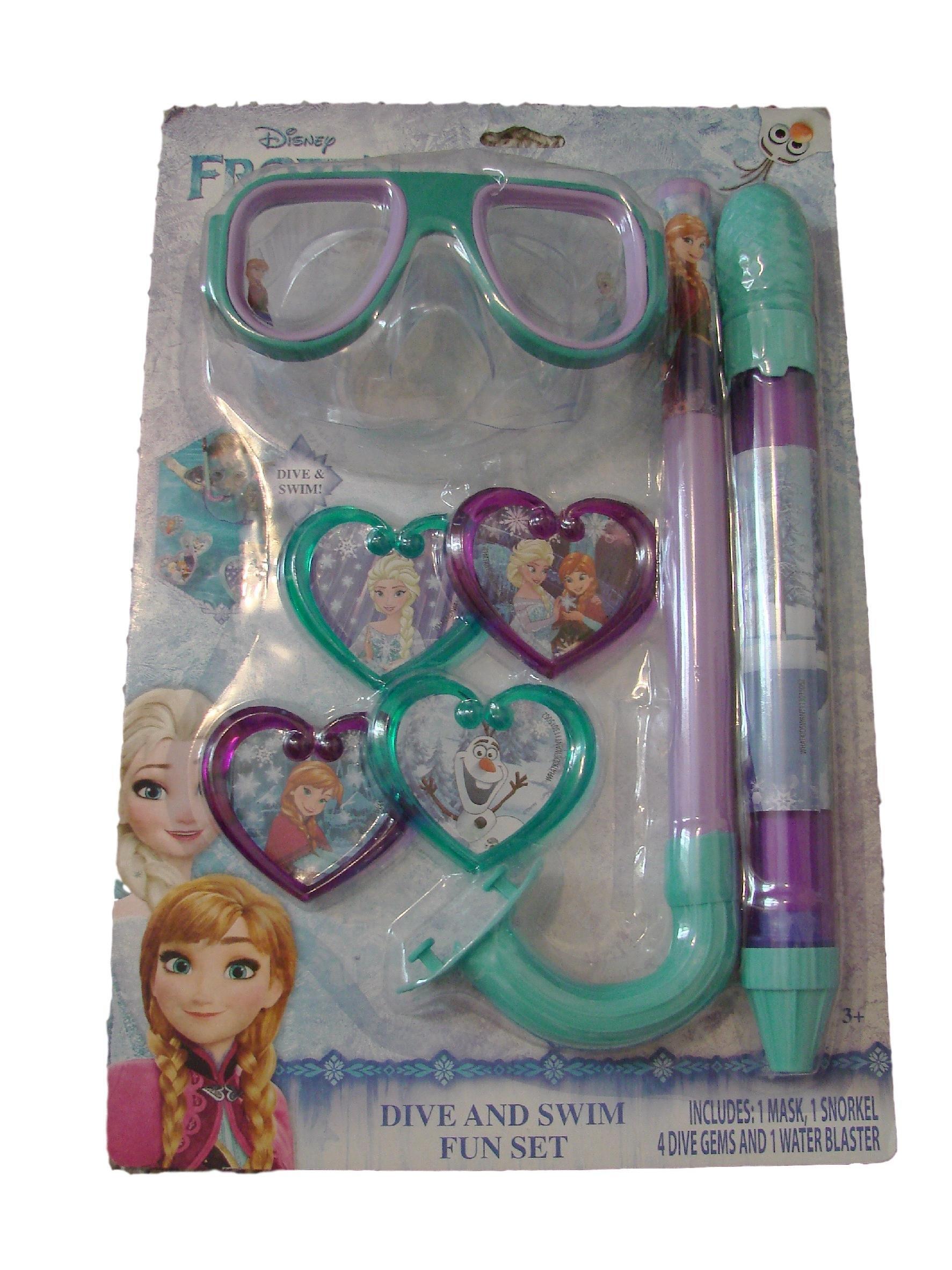 Disney Frozen Dive And Swim Fun Set 1 Mask 1 Snorkel 4 Dive Gems 1 Water Blaster