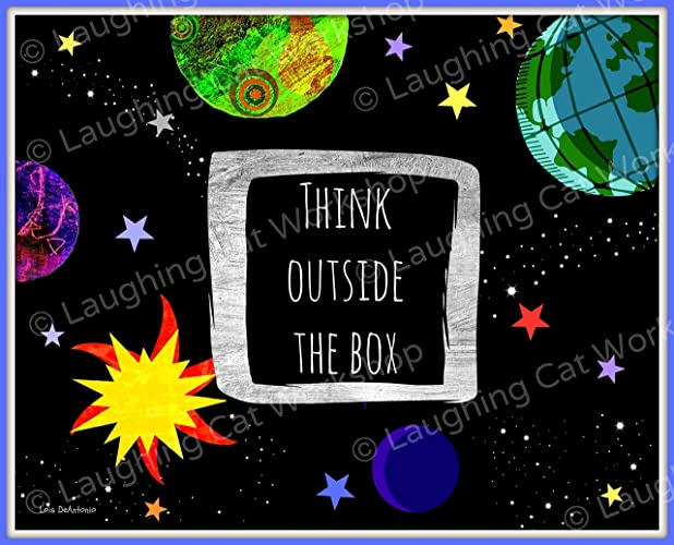 Inspirational Art For Children Think Outside The Box Quote Print Teachers Back To School Wall Decor