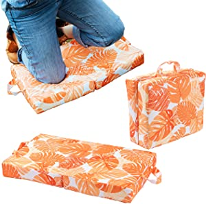 Raise Your Game Garden Kneeling Pad, Knee Protector Cushion Pillow for Garden Work, Large Thick Kneeler Foam Support for Gardening, Waterproof Foldable Mat, Indoor and Outdoor Chores (Orange)