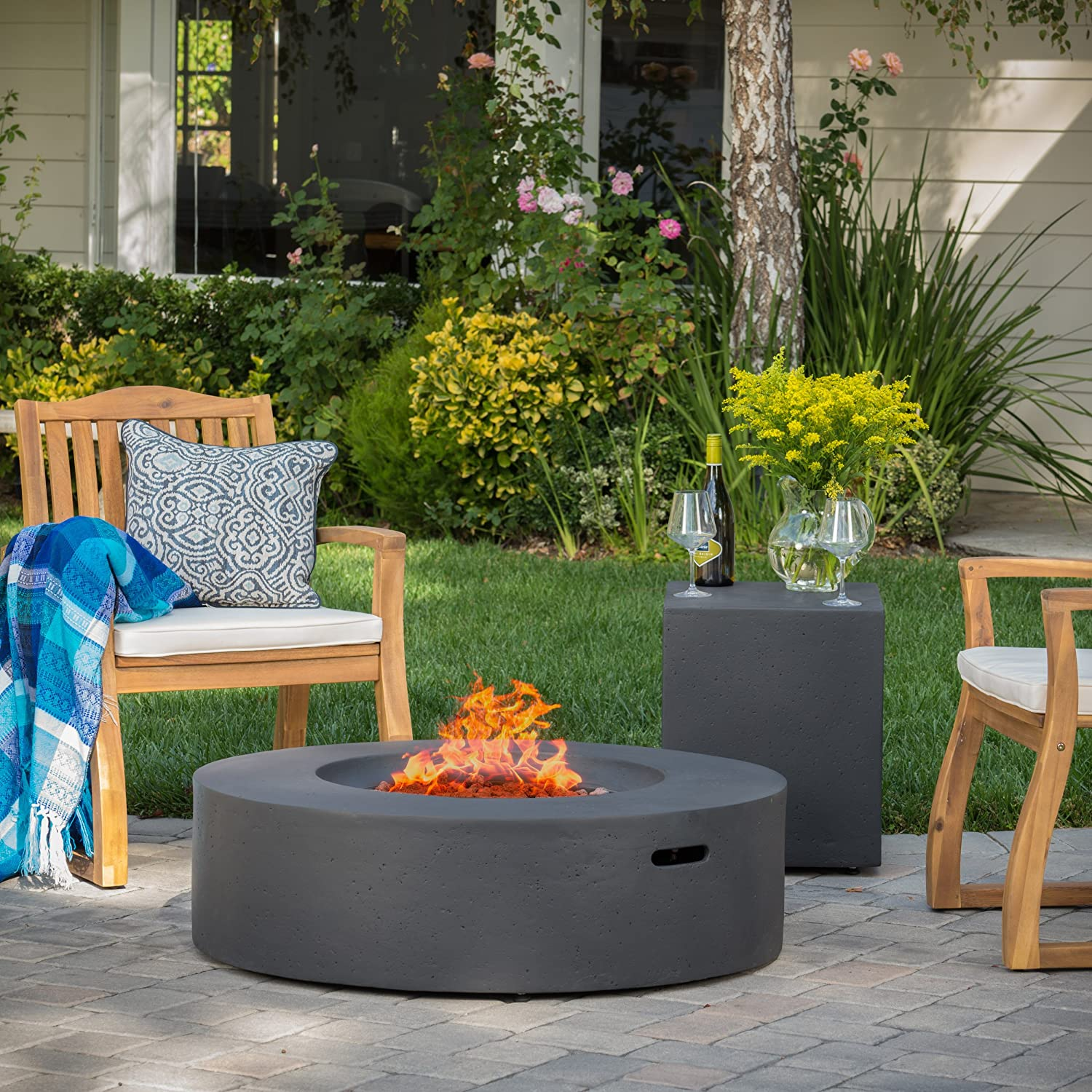 Amazon.com : Hearth 50K BTU Outdoor Gas Fire Pit Table with Tank Holder  (Circular, Dark Grey) : Garden & Outdoor - Amazon.com : Hearth 50K BTU Outdoor Gas Fire Pit Table With Tank