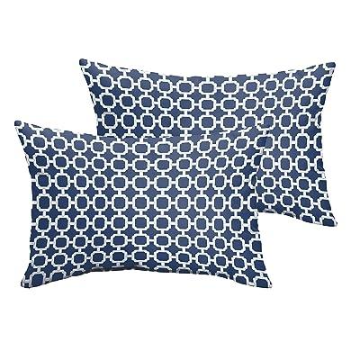 Mozaic Company Indoor/ Outdoor 12 by 18-inch Knife Edge Pillow, Dark Blue Chainlink, Set of 2 : Garden & Outdoor