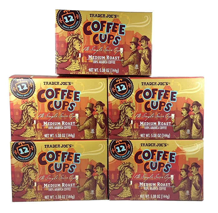 Trader Joe's Coffee Cups - Single Serve - Medium Roast Arabica Coffee - Pack of 5