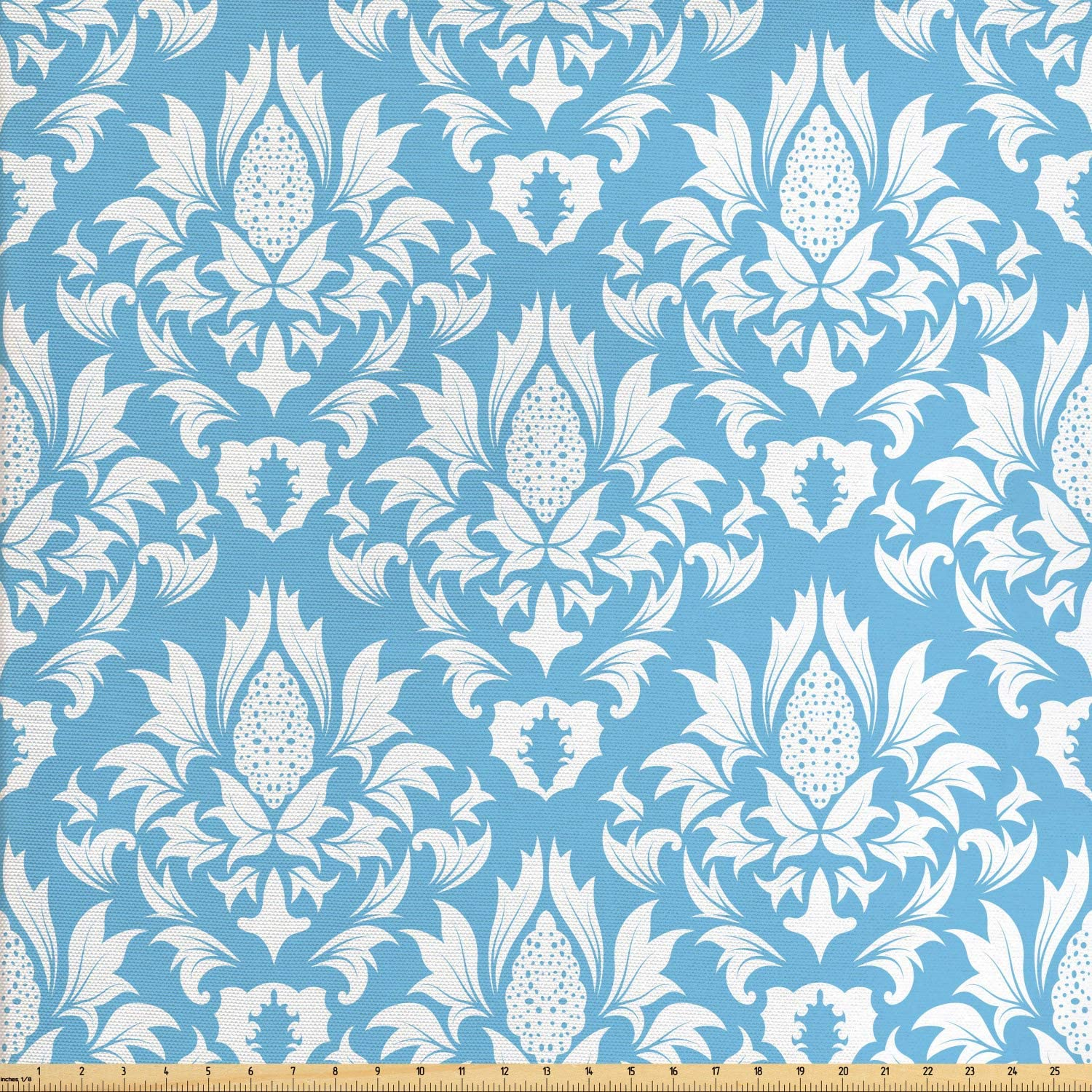 Ambesonne Damask Fabric by The Yard, Natural Pattern in Blue and White Organic Garden Foliage Old Revival Leaves, Decorative Fabric for Upholstery and Home Accents, 1 Yard, Sky Blue