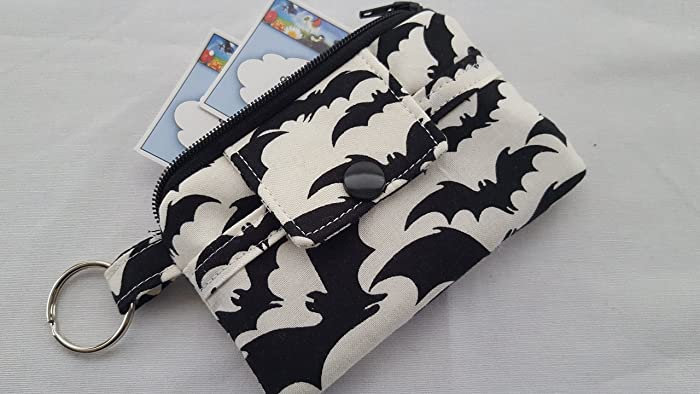 zipper mini wallet pouch key chain fabric card holder halloween black bats