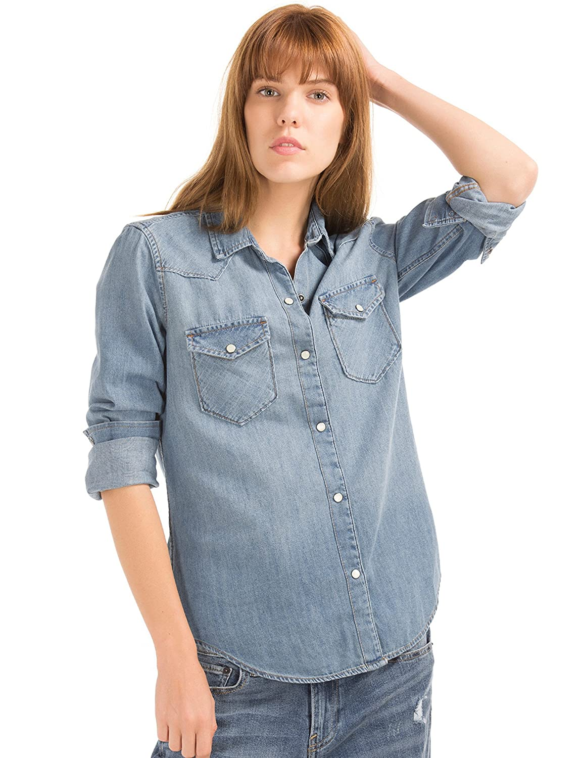 0013311f99324 Womens Blue Denim Western Shirt – EDGE Engineering and Consulting ...