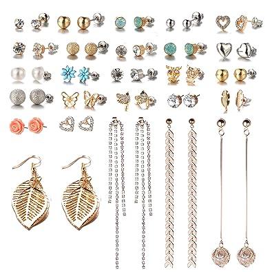 f69cc6191 26 Pairs Assorted Multiple Stud Earrings Set for Women Simple Hoop Earring  Set Leaf Flower Tassel