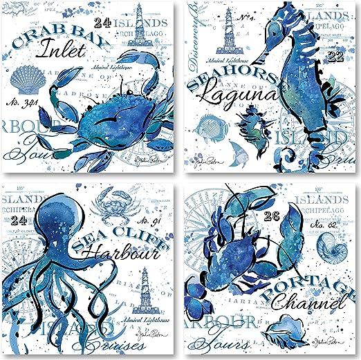 Coastal Decor Art Print Blue Lobsters Crabs set of 6 Beach Wall Art Decor Prints