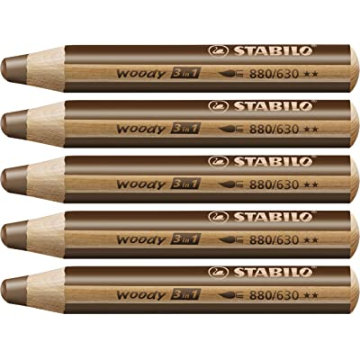 Multi-talented Pencil STABILO woody 3-in-1 box of 5 brown : Office Products