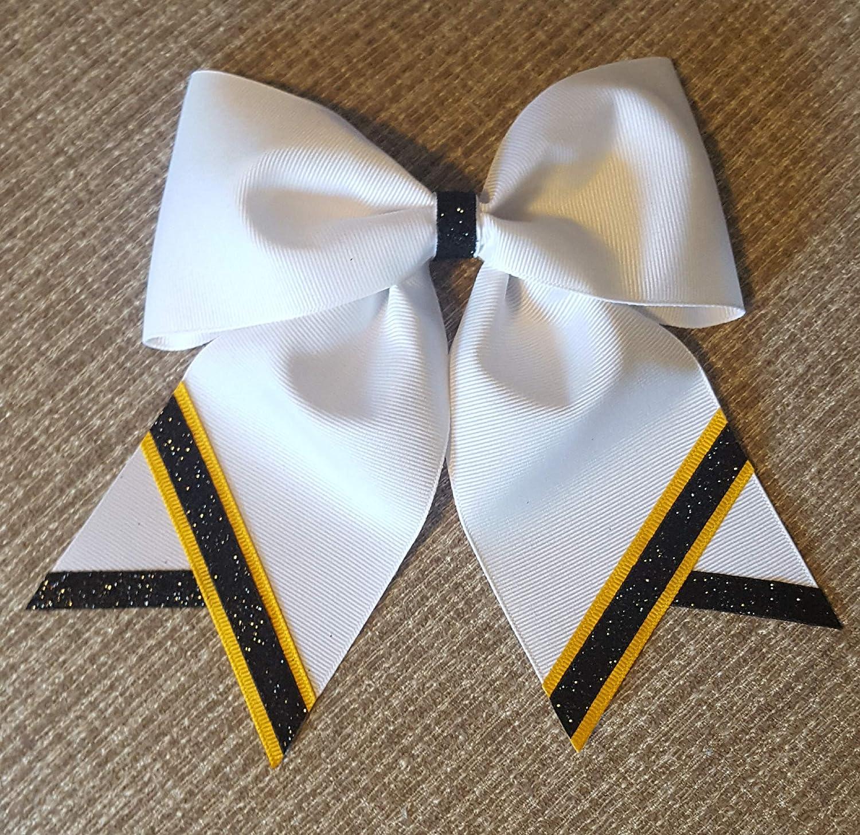 White with Yellow Gold and Metallic Black Stripes Hair Bow