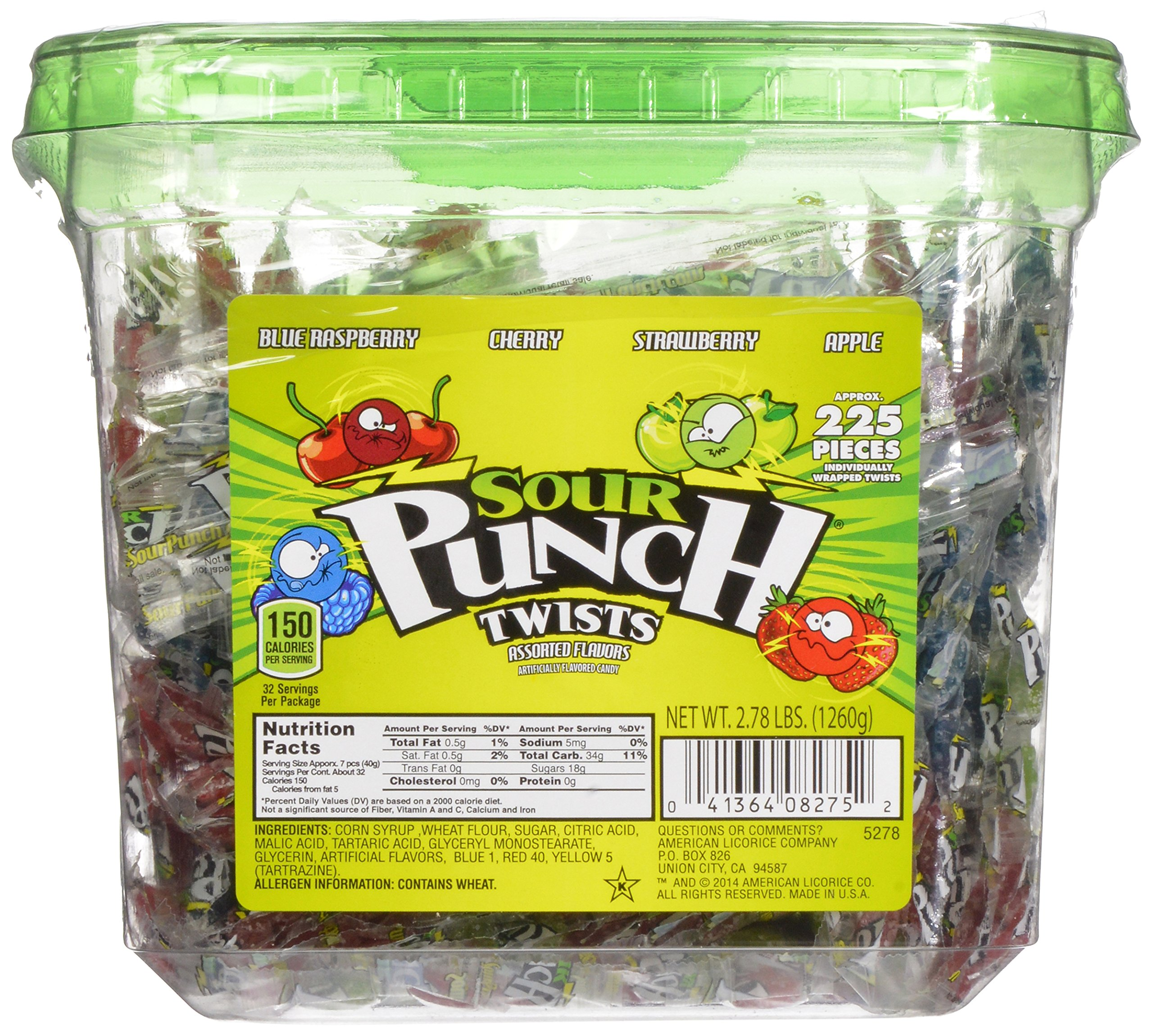 Sour Punch Twists, 4-Flavor Variety Pack, 44.48-Ounce Tubs (Pack of 2) by Sour Punch