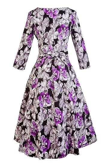 7bba704530f81 Women's Dress 3/4 Sleeve Calf-Length Retro Floral Vintage Dress Audrey  Hepburn Style