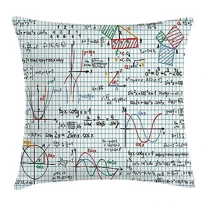 Matemáticas aula Decor manta almohada Funda de cojín por Ambesonne estudios lección portátil página bocetos fórmula