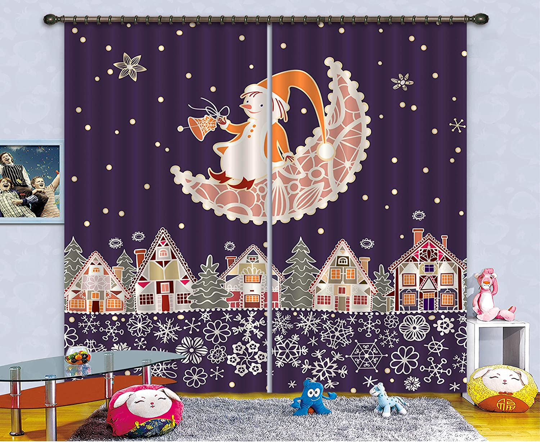 3D 月とクリスマスの町 102 ブロックアウトフォトカーテンプリントカーテンドレープファブリックウィンドウ  3Dラージ写真カーテン, AJ WALLPAPER Maze (360cmx270cm(WxH)【141''x 106''】) B07L9LM4SK  360cmx270cm(WxH)【141''x 106''】