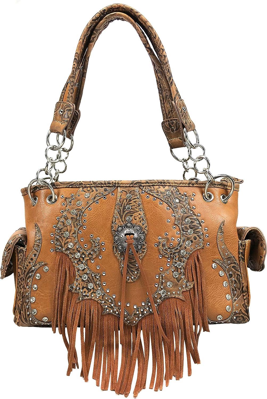 Zelris Western Concho Fringe Lace Two Toned Conceal Carry Shoulder Handbag Purse