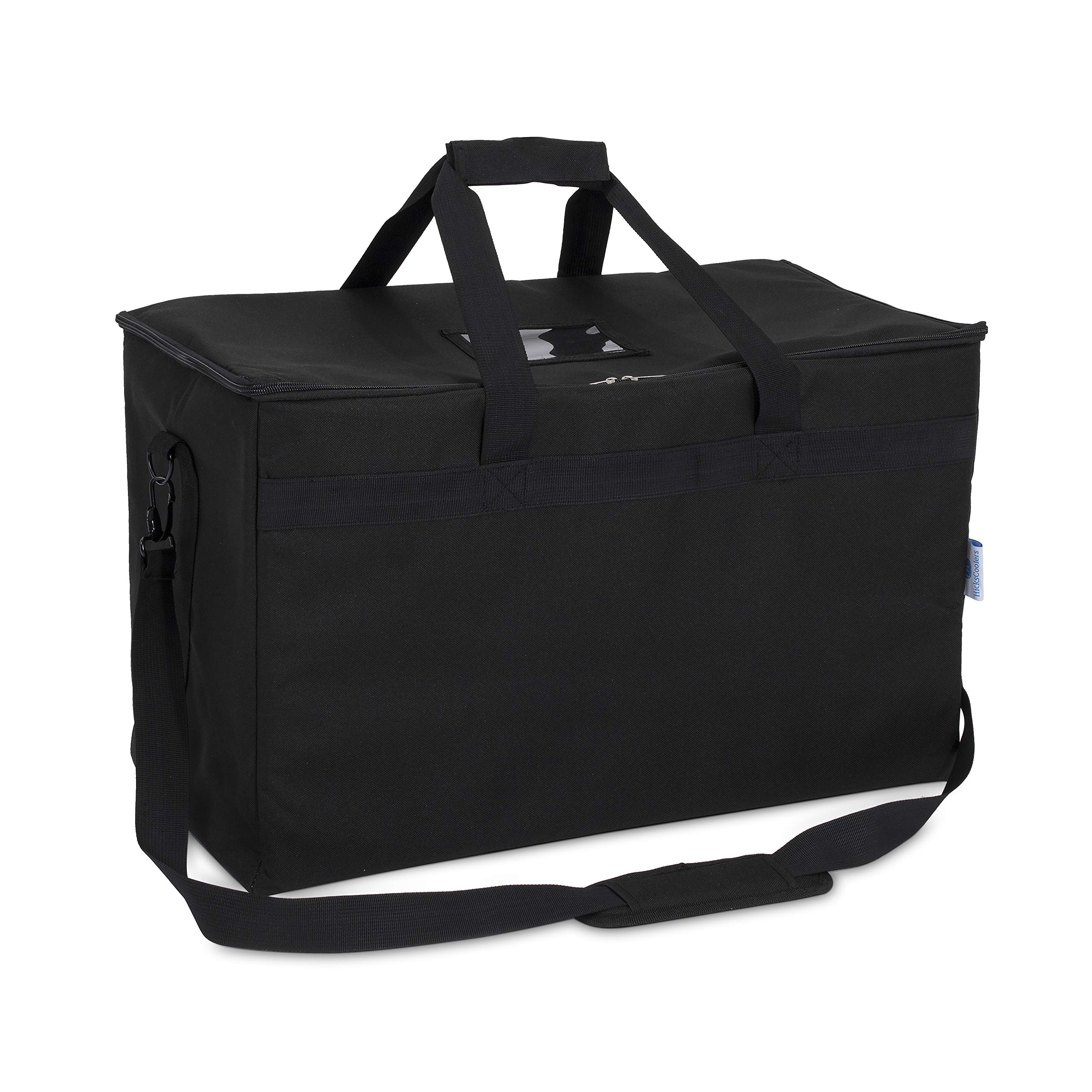 Commercial Quality Insulated Food Delivery Bag- Large 23'' x 13'' x 15'', Thick Thermal Insulation, Extra Strength Zippers, by HicksCoolers (Black) by HicksCoolers