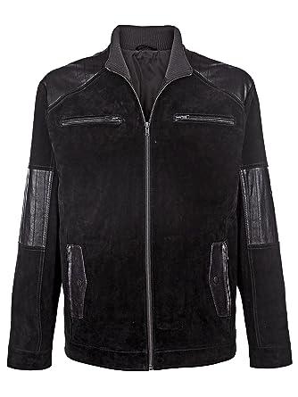 b6c1eb50e5f Homme veste en cuir croûte de cuir de porc avec col montant by Sonnette -  noir