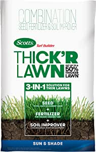 Scotts Turf Builder Thick'R Lawn Sun & Shade - 3 in 1 Lawn Fertilizer, Seed, Soil Improver for a Thicker, Greener Lawn, Seeds up to 4,000 sq. ft, 40 lb.