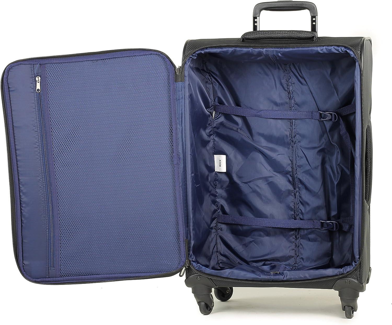 Rock Astro 55cm Super Lightweight Ryanair Cabin Size Four Wheel Spinner Suitcase Black
