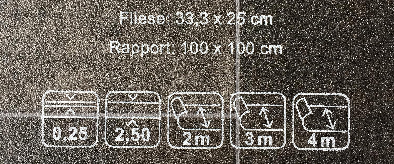 rutschhemmend CV-Boden wird in ben/ötigter Gr/ö/ße als Meterware geliefert PVC-Belag verf/ügbar in der Breite 4 m /& in der L/änge 5,5 m PVC Vinyl-Bodenbelag in edler Fliesen /& Natursteinoptik