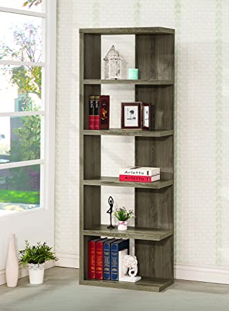 Coaster Home Furnishings 5-Tier Semi-Backless Bookcase Weathered Grey