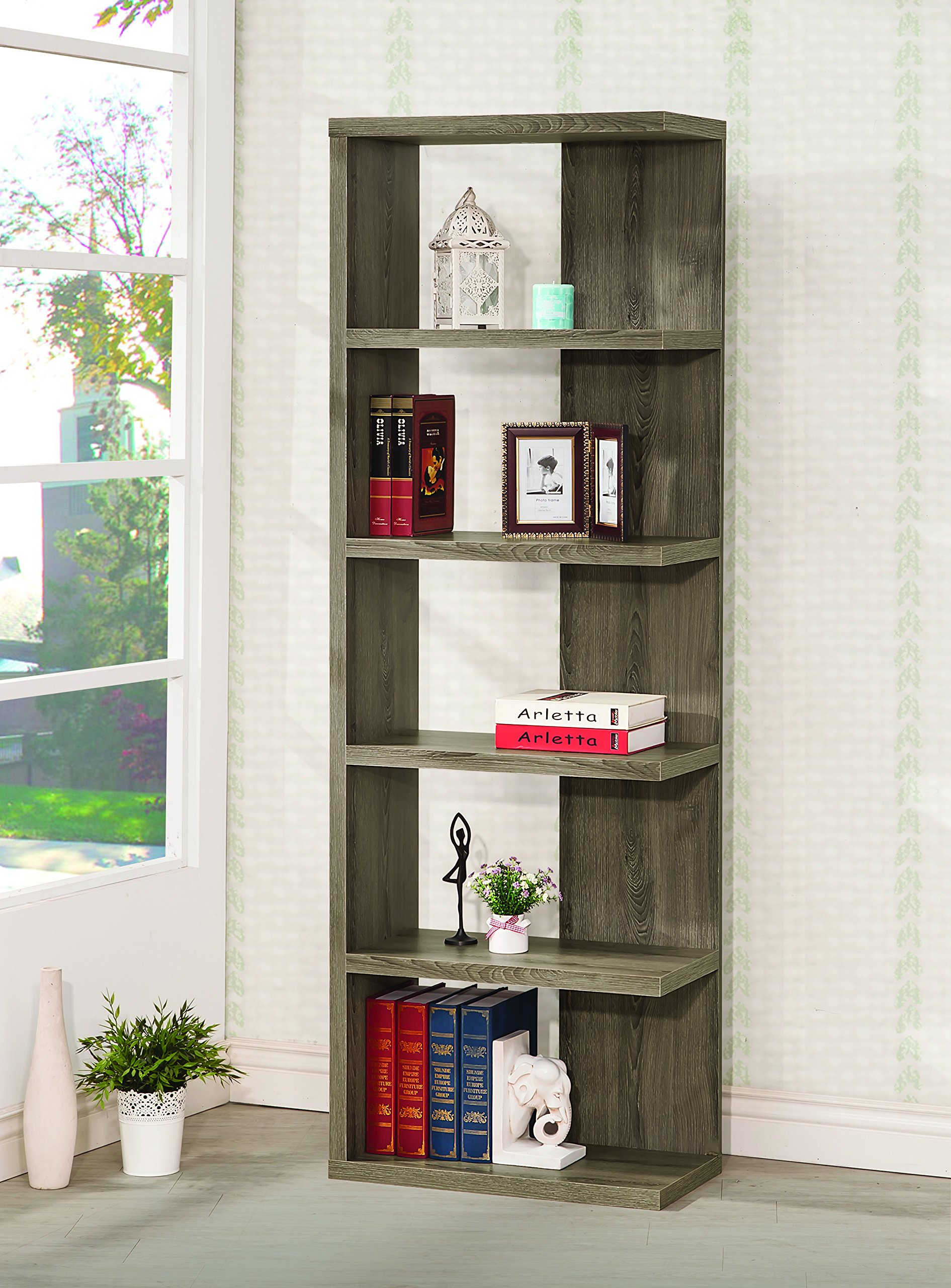 Coaster Contemporary Weathered Grey Semi-Backless Five Shelf Bookcase