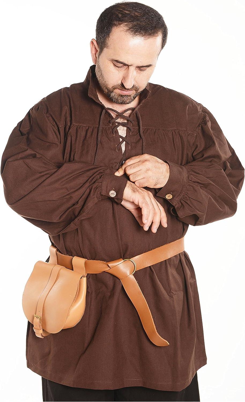 byCalvina - Calvina Costumes Hermes Medieval Viking Larp - Camisa de Hombre de algodón, diseño de Pirata - Marrón - XXX-Large: Amazon.es: Ropa y accesorios