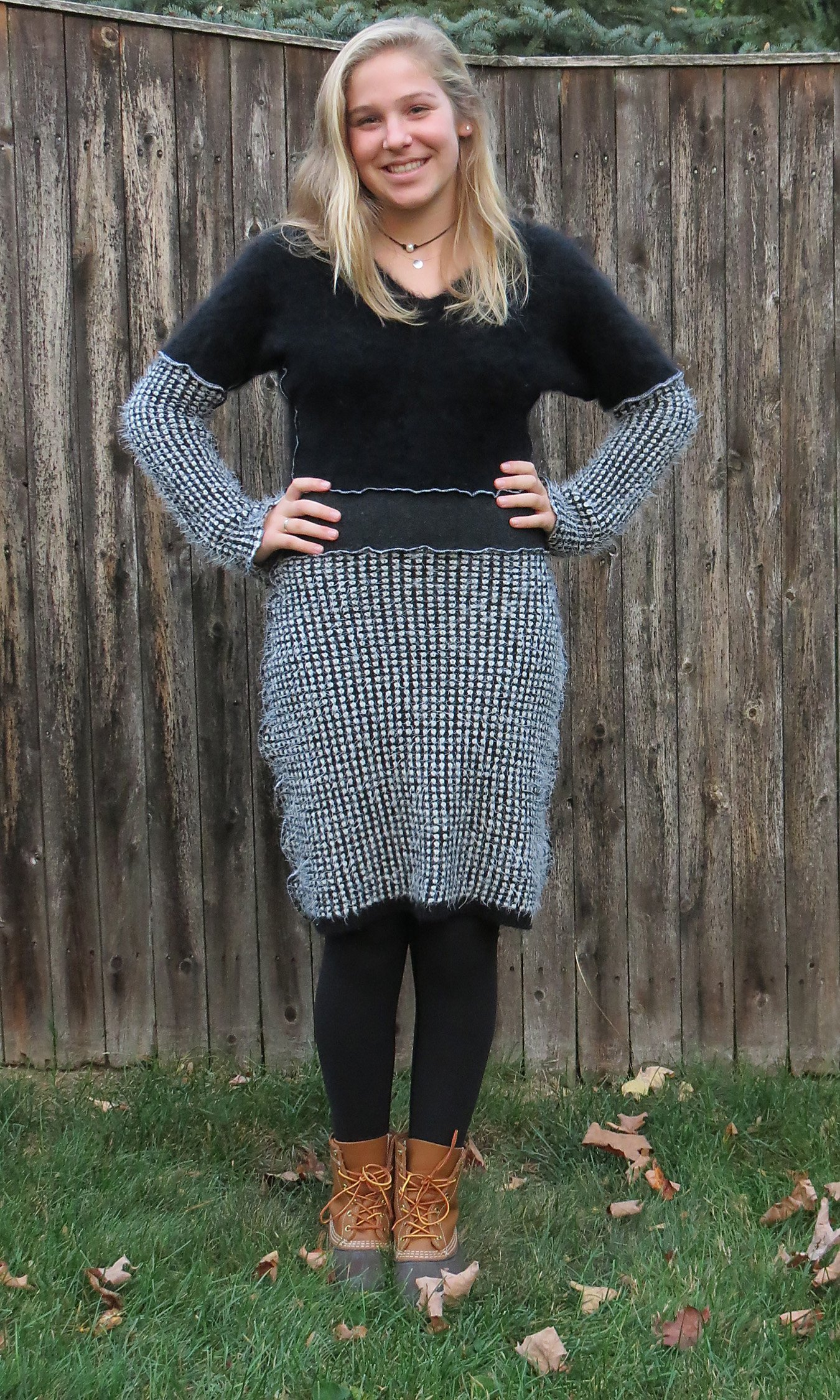 Black N White Soft Cozy Angora Sweater Dress