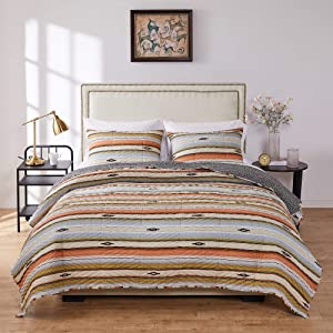 Greenland Home Fashions Painted Desert Quilt Set, 3-Piece Full/Queen, Rose