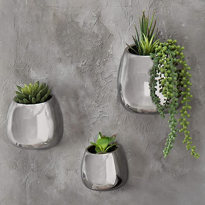 MyGift Contemporary Wall-Hanging Metallic Silver Ceramic Planters, Set of 3