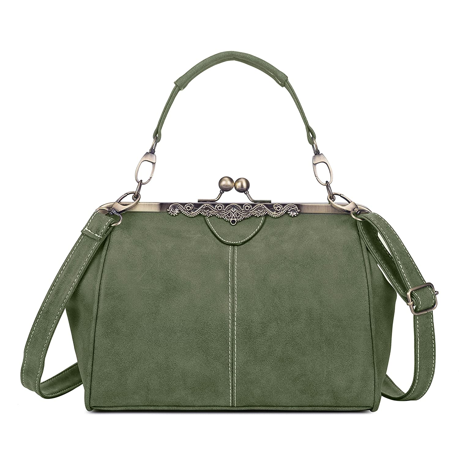 Women PU Leather Purse Retro Fashion Top Handle Handbag Kiss Lock Crossbody Shoulder  Bag for Ladies (Vintage Green)  Handbags  Amazon.com 33464aeb4ce53